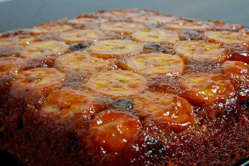 Banana Upside Down Cake with Chocolate Chips, Whole 500